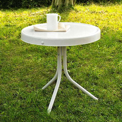 "Bayden Hill CO1011A-WH Griffith Metal 20"" Side Table in White Finish - Peazz.com"