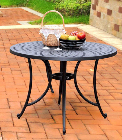 "Bayden Hill CO600142-BK Sedona 42"" Cast Aluminum Dining Table in Charcoal Black Finish - Peazz.com"