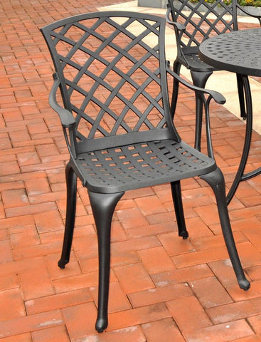 Bayden Hill CO6102-BK Sedona Cast Aluminum High Back Arm Chair in Charcoal Black Finish  - Set of 2 - Peazz.com