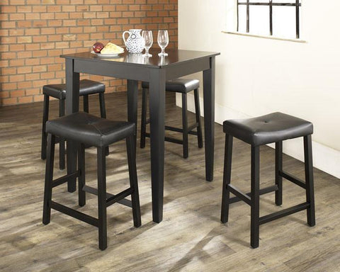 Bayden Hill KD520008BK 5 Piece Pub Dining Set with Tapered Leg and Upholstered Saddle Stools in Black Finish - BarstoolDirect.com