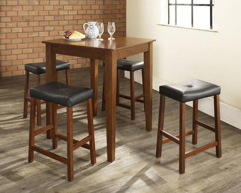 Bayden Hill KD520008CH 5 Piece Pub Dining Set with Tapered Leg and Upholstered Saddle Stools in Classic Cherry  Finish - BarstoolDirect.com