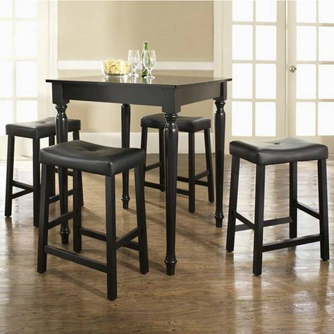 Bayden Hill 5 Piece Pub Dining Set with Turned Leg and Upholstered Saddle Stools in Black Finish - BarstoolDirect.com