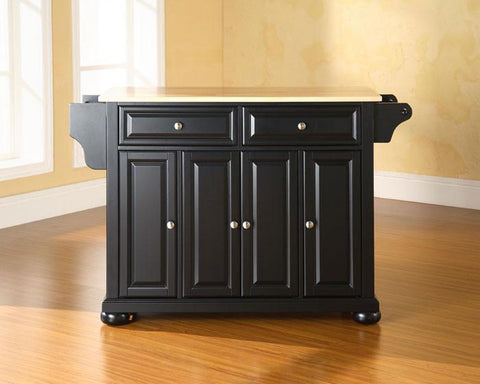 Bayden Hill KF30001ABK Alexandria Natural Wood Top Kitchen Island in Black Finish - Peazz.com