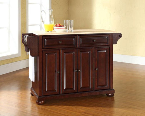 Bayden Hill KF30001AMA Alexandria Natural Wood Top Kitchen Island in Vintage Mahogany Finish - Peazz.com