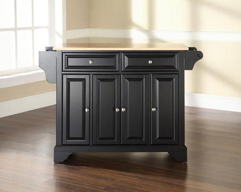 Bayden Hill KF30001BBK LaFayette Natural Wood Top Kitchen Island in Black Finish - Peazz.com