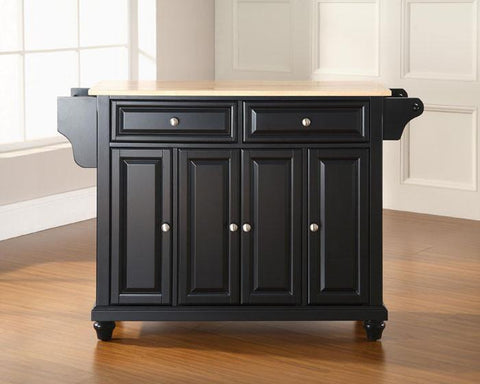 Bayden Hill KF30001DBK Cambridge Natural Wood Top Kitchen Island in Black Finish - Peazz.com