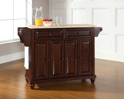 Bayden Hill KF30001DMA Cambridge Natural Wood Top Kitchen Island in Vintage Mahogany Finish - Peazz.com