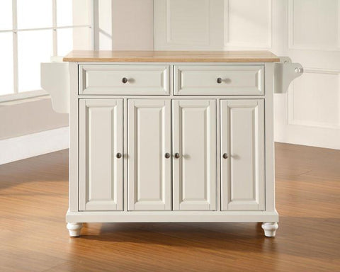 Bayden Hill KF30001DWH Cambridge Natural Wood Top Kitchen Island in White Finish - Peazz.com