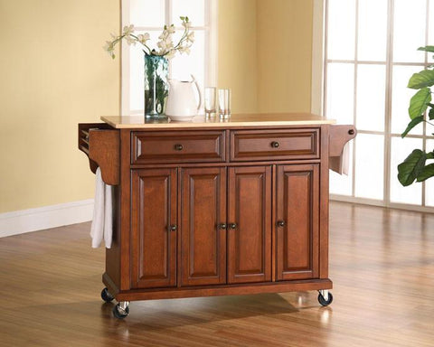 Bayden Hill KF30001ECH Natural Wood Top Kitchen Cart/Island in Classic Cherry Finish - Peazz.com