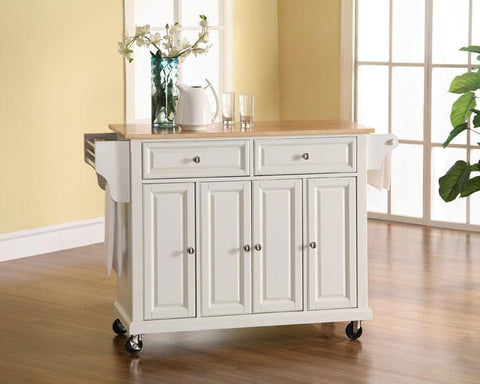 Bayden Hill KF30001EWH Natural Wood Top Kitchen Cart/Island in White Finish - Peazz.com