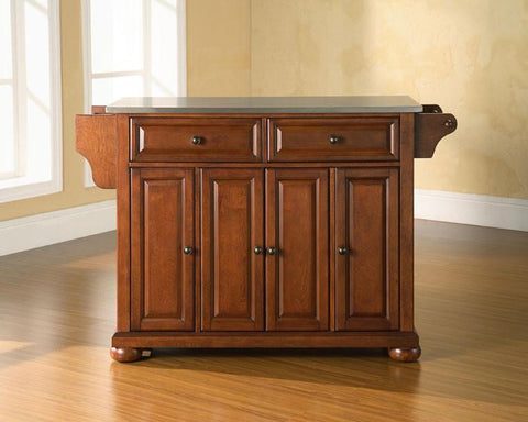 Bayden Hill KF30002ACH Alexandria Stainless Steel Top Kitchen Island in Classic Cherry Finish - Peazz.com