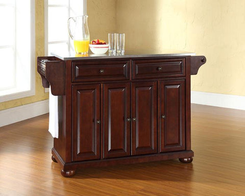 Bayden Hill KF30002AMA Alexandria Stainless Steel Top Kitchen Island in Vintage Mahogany Finish - Peazz.com