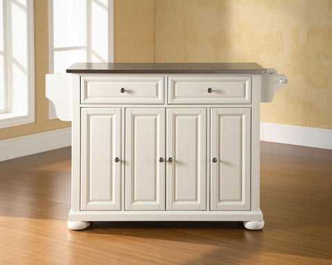 Bayden Hill KF30002AWH Alexandria Stainless Steel Top Kitchen Island in White Finish - Peazz.com