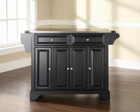 Bayden Hill KF30002BBK LaFayette Stainless Steel Top Kitchen Island in Black Finish - Peazz.com