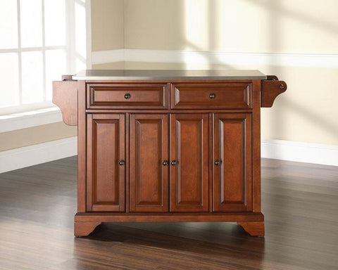 Bayden Hill KF30002BCH LaFayette Stainless Steel Top Kitchen Island in Classic Cherry Finish - Peazz.com