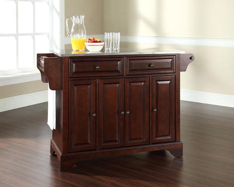 Bayden Hill KF30002BMA LaFayette Stainless Steel Top Kitchen Island in Vintage Mahogany Finish - Peazz.com