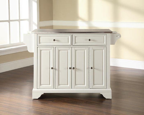 Bayden Hill KF30002BWH LaFayette Stainless Steel Top Kitchen Island in White Finish - Peazz.com