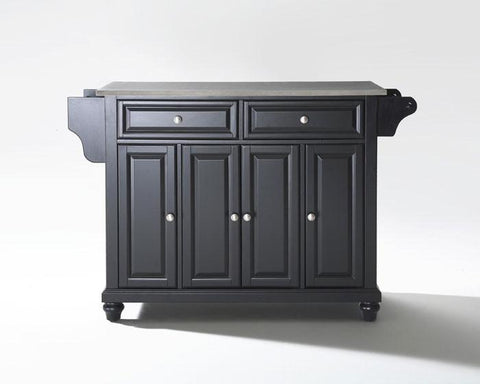 Bayden Hill KF30002DBK Cambridge Stainless Steel Top Kitchen Island in Black Finish - Peazz.com