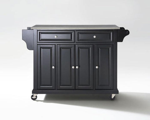 Bayden Hill KF30002EBK Stainless Steel Top Kitchen Cart/Island in Black Finish - Peazz.com