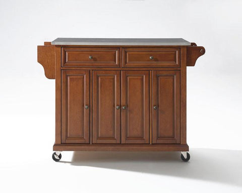 Bayden Hill KF30002ECH Stainless Steel Top Kitchen Cart/Island in Classic Cherry Finish - Peazz.com
