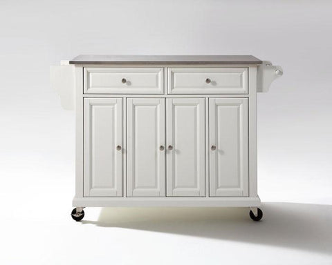 Bayden Hill KF30002EWH Stainless Steel Top Kitchen Cart/Island in White Finish - Peazz.com