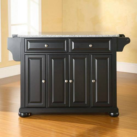 Bayden Hill Alexandria Solid Granite Top Kitchen Island in Black Finish - Peazz.com