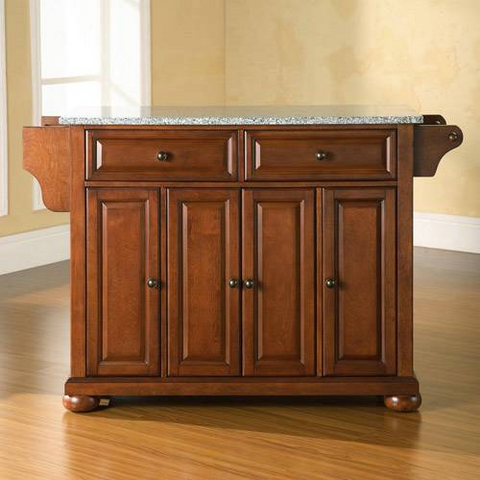Bayden Hill Alexandria Solid Granite Top Kitchen Island in Classic Cherry Finish - Peazz.com