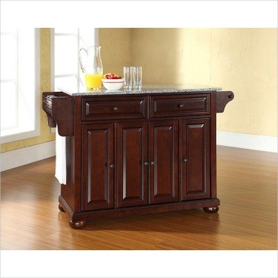 Bayden Hill Alexandria Solid Granite Top Kitchen Island in Vintage Mahogany Finish - Peazz.com
