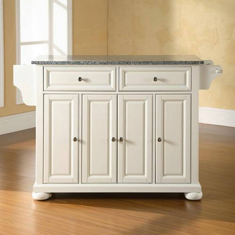 Bayden Hill Alexandria Solid Granite Top Kitchen Island in White Finish - Peazz.com