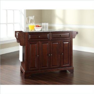 Bayden Hill LaFayette Solid Granite Top Kitchen Island in Vintage Mahogany Finish - Peazz.com