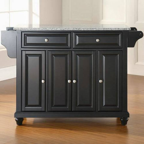 Bayden Hill Cambridge Solid Granite Top Kitchen Island in Black Finish - Peazz.com