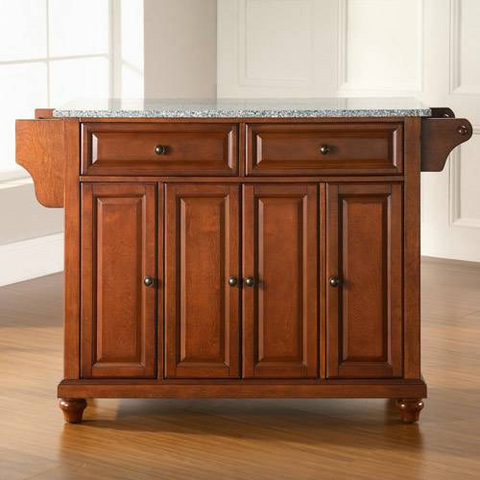 Bayden Hill Cambridge Solid Granite Top Kitchen Island in Classic Cherry Finish - Peazz.com