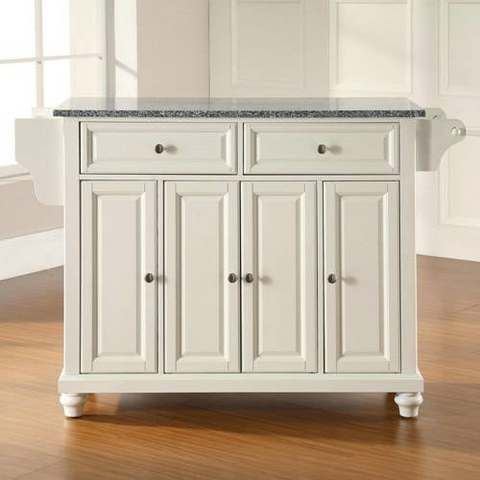 Bayden Hill Cambridge Solid Granite Top Kitchen Island in White Finish - Peazz.com