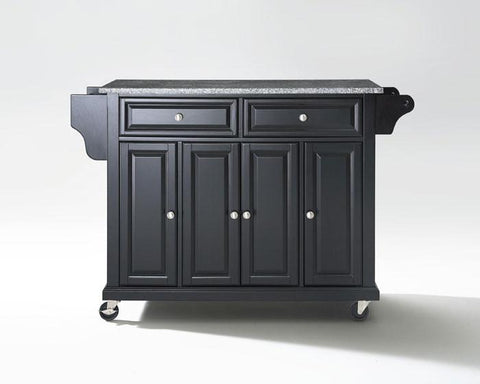 Bayden Hill KF30003EBK Solid Granite Top Kitchen Cart/Island in Black Finish - Peazz.com