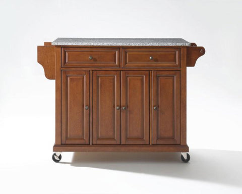 Bayden Hill KF30003ECH Solid Granite Top Kitchen Cart/Island in Classic Cherry Finish - Peazz.com
