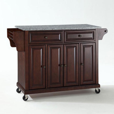 Bayden Hill KF30003EMA Solid Granite Top Kitchen Cart/Island in Vintage Mahogany Finish - Peazz.com