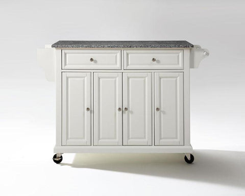 Bayden Hill KF30003EWH Solid Granite Top Kitchen Cart/Island in White Finish - Peazz.com