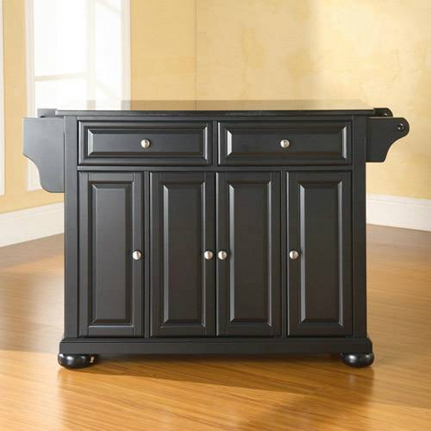 Bayden Hill Alexandria Solid Black Granite Top Kitchen Island in Black Finish - Peazz.com