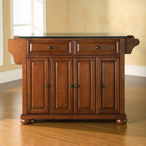 Bayden Hill Alexandria Solid Black Granite Top Kitchen Island in Classic Cherry Finish - Peazz.com