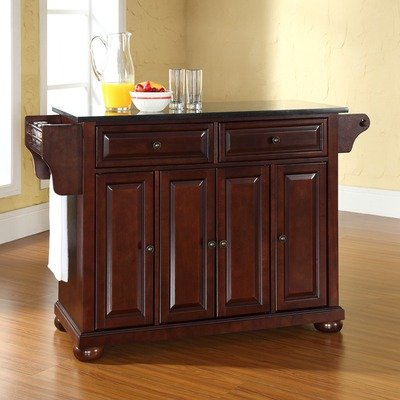 Bayden Hill Alexandria Solid Black Granite Top Kitchen Island in Vintage Mahogany Finish - Peazz.com