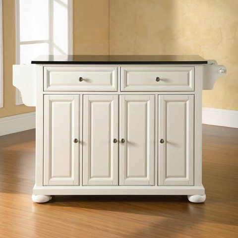 Bayden Hill Alexandria Solid Black Granite Top Kitchen Island in White Finish - Peazz.com