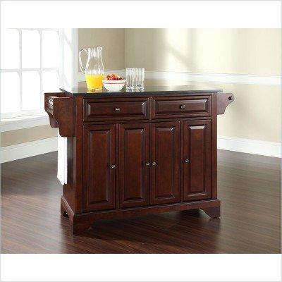Bayden Hill LaFayette Solid Black Granite Top Kitchen Island in Vintage Mahogany Finish - Peazz.com