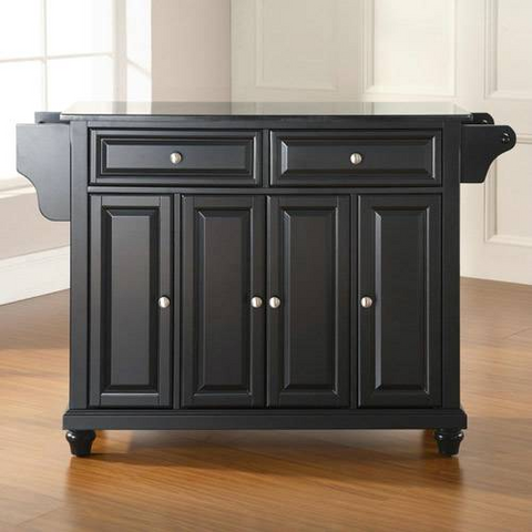 Bayden Hill Cambridge Solid Black Granite Top Kitchen Island in Black Finish - Peazz.com