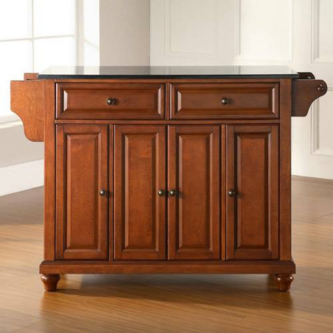 Bayden Hill Cambridge Solid Black Granite Top Kitchen Island in Classic Cherry Finish - Peazz.com