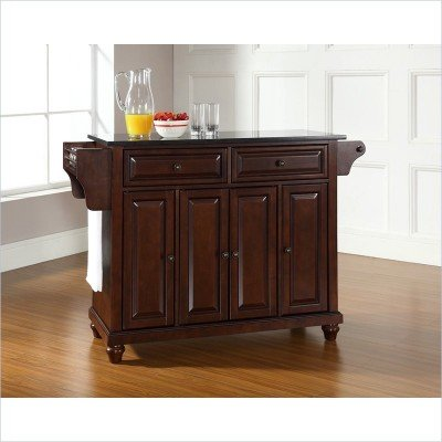 Bayden Hill Cambridge Solid Black Granite Top Kitchen Island in Vintage Mahogany Finish - Peazz.com