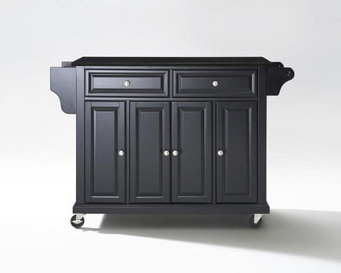 Bayden Hill KF30004EBK Solid Black Granite Top Kitchen Cart/Island in Black Finish - Peazz.com