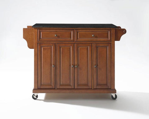 Bayden Hill KF30004ECH Solid Black Granite Top Kitchen Cart/Island in Classic Cherry Finish - Peazz.com