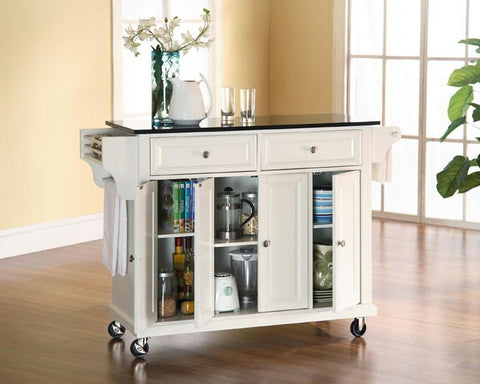 Bayden Hill KF30004EWH Solid Black Granite Top Kitchen Cart/Island in White Finish - Peazz.com