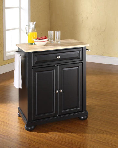 Bayden Hill KF30021ABK Alexandria Natural Wood Top Portable Kitchen Island in Black Finish - Peazz.com