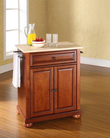 Bayden Hill KF30021ACH Alexandria Natural Wood Top Portable Kitchen Island in Classic Cherry Finish - Peazz.com